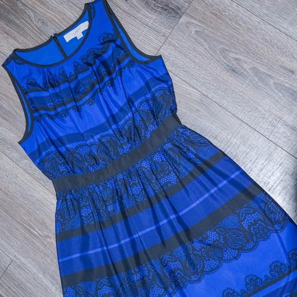 LOFT Dresses & Skirts - Blue & Black A-line Lace-print detail dress